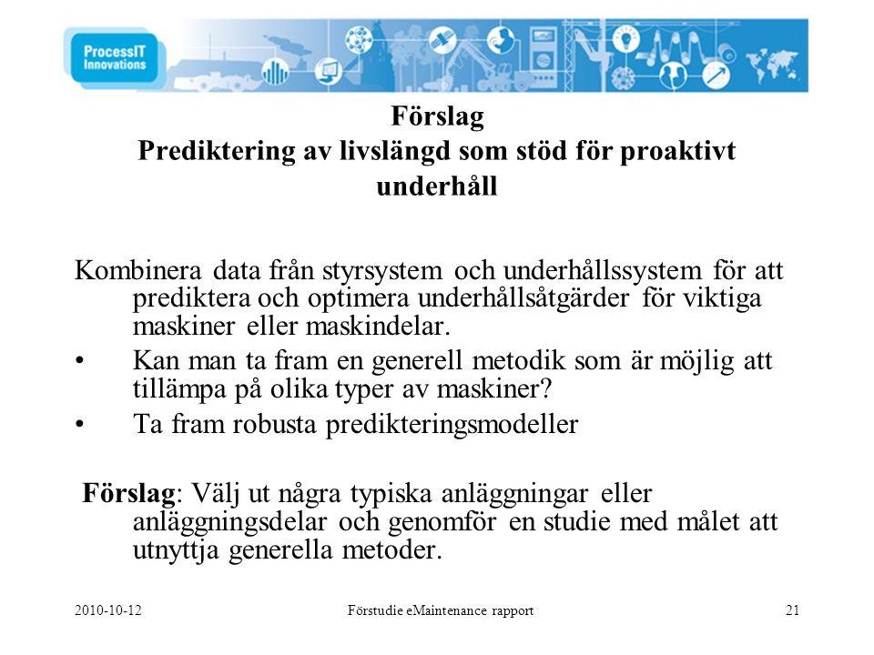 Förslag Prediktering av livslängd som stöd för proaktivt underhåll