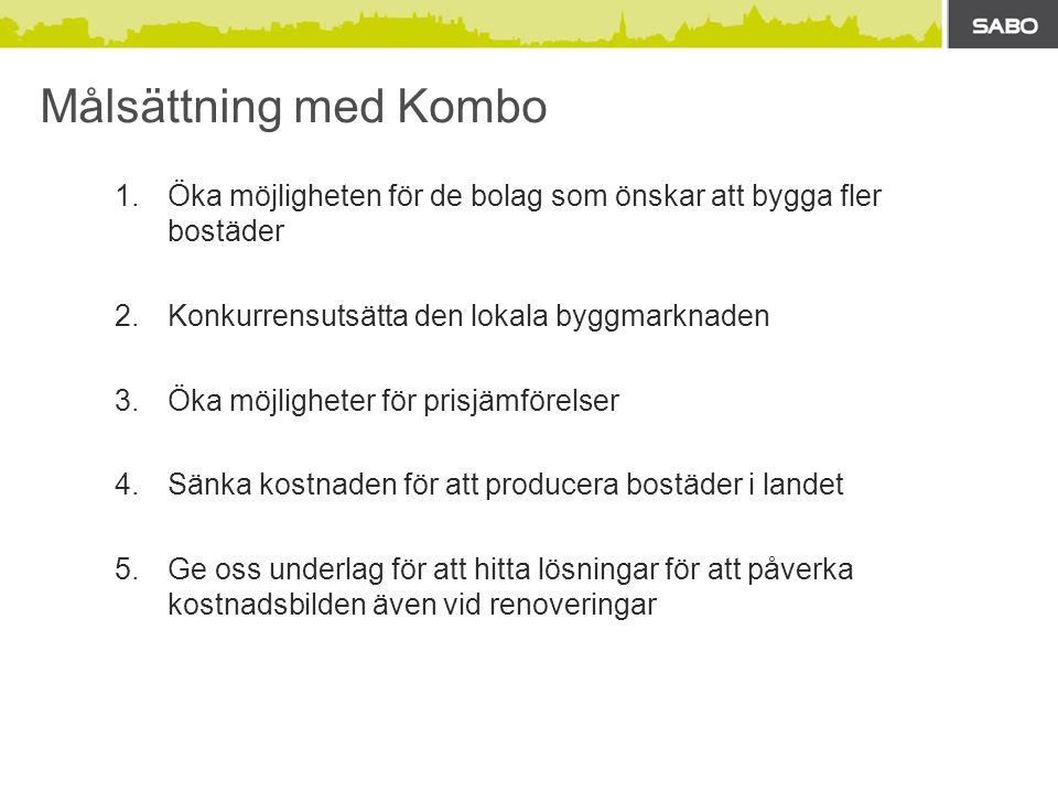 Målsättning med Kombo Öka möjligheten för de bolag som önskar att bygga fler bostäder. Konkurrensutsätta den lokala byggmarknaden.
