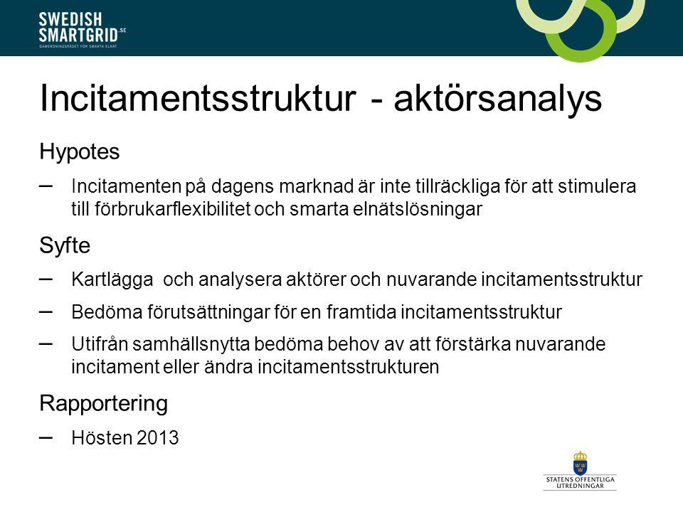 Incitamentsstruktur - aktörsanalys