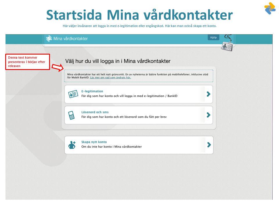 Startsida Mina vårdkontakter Här väljer invånaren att logga in med e-legitimation eller engångskod. Här kan man också skapa ett konto.