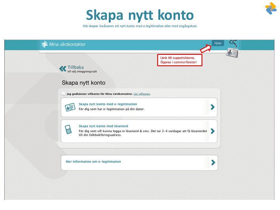 Skapa nytt konto Här skapar invånaren ett nytt konto med e-legitimation eller med engångskod.