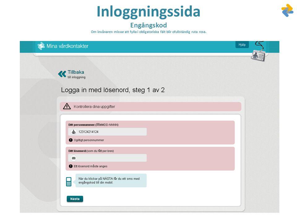 Inloggningssida Engångskod Om invånaren missar att fylla i obligatoriska fält blir ofullständig ruta rosa.