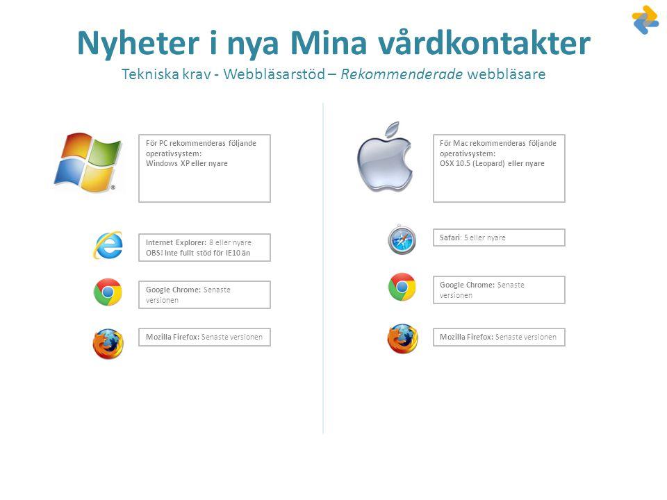 Nyheter i nya Mina vårdkontakter Tekniska krav - Webbläsarstöd – Rekommenderade webbläsare