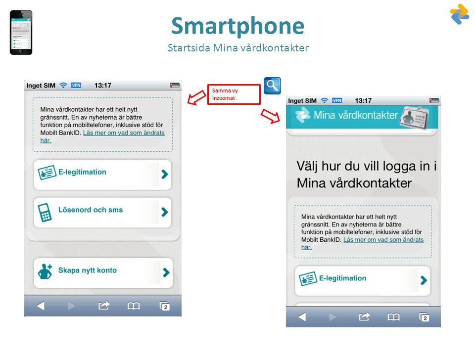 Smartphone Startsida Mina vårdkontakter