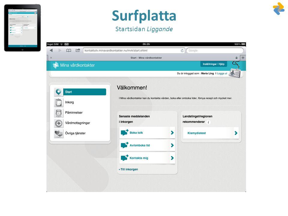 Surfplatta Startsidan Liggande