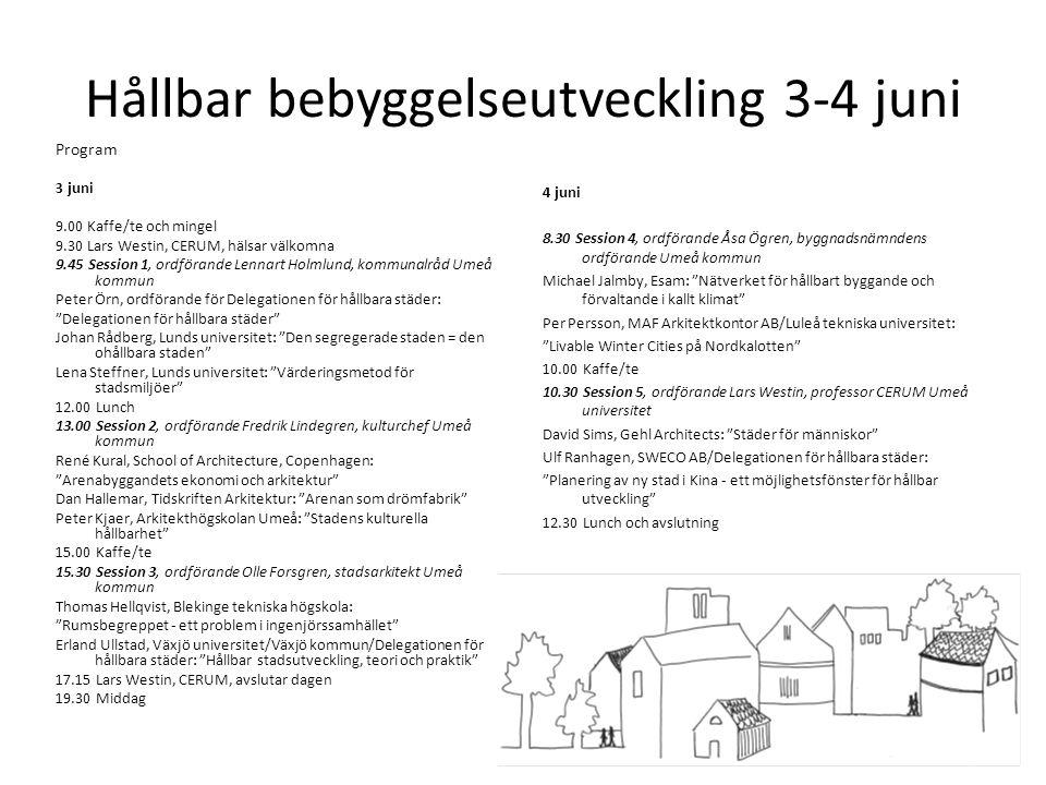 Hållbar bebyggelseutveckling 3-4 juni