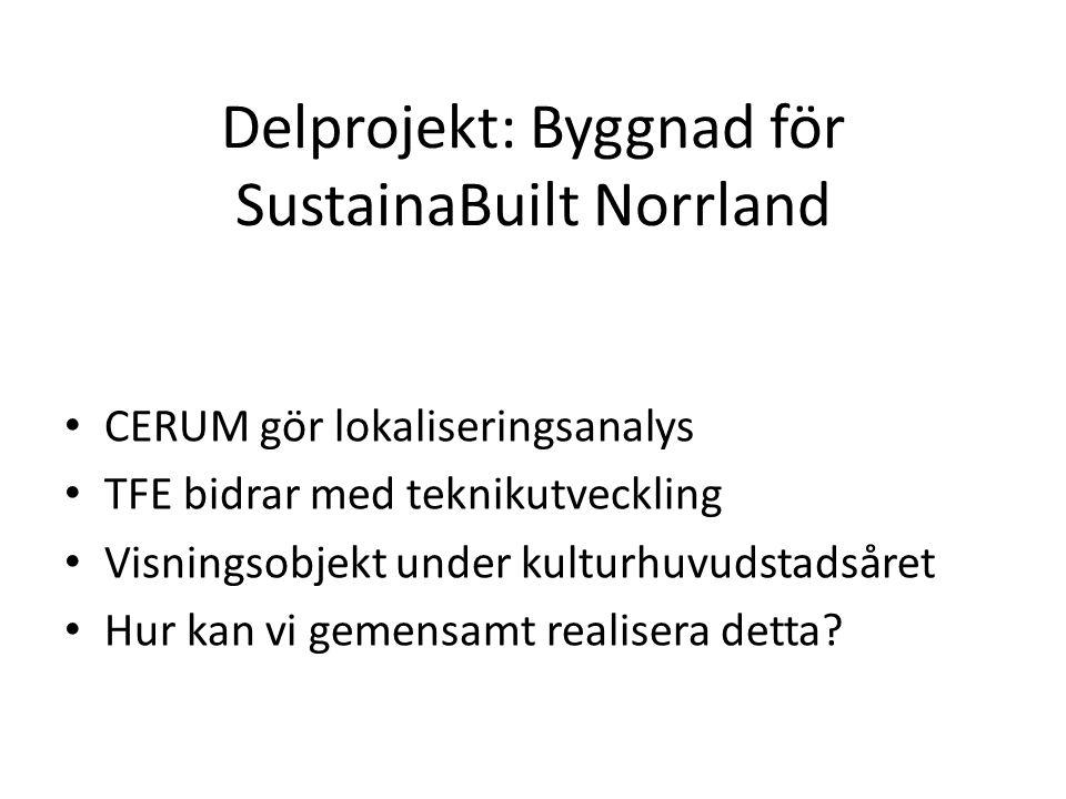 Delprojekt: Byggnad för SustainaBuilt Norrland