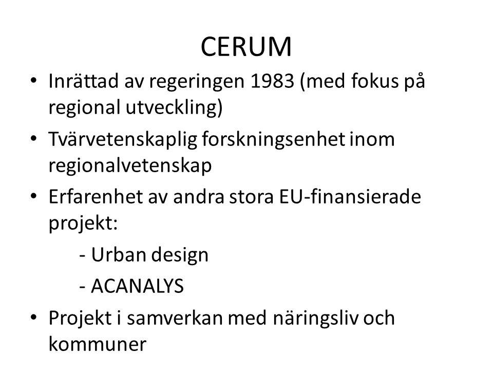CERUM Inrättad av regeringen 1983 (med fokus på regional utveckling)