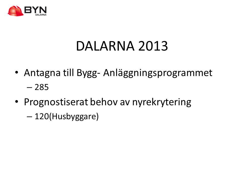 DALARNA 2013 Antagna till Bygg- Anläggningsprogrammet