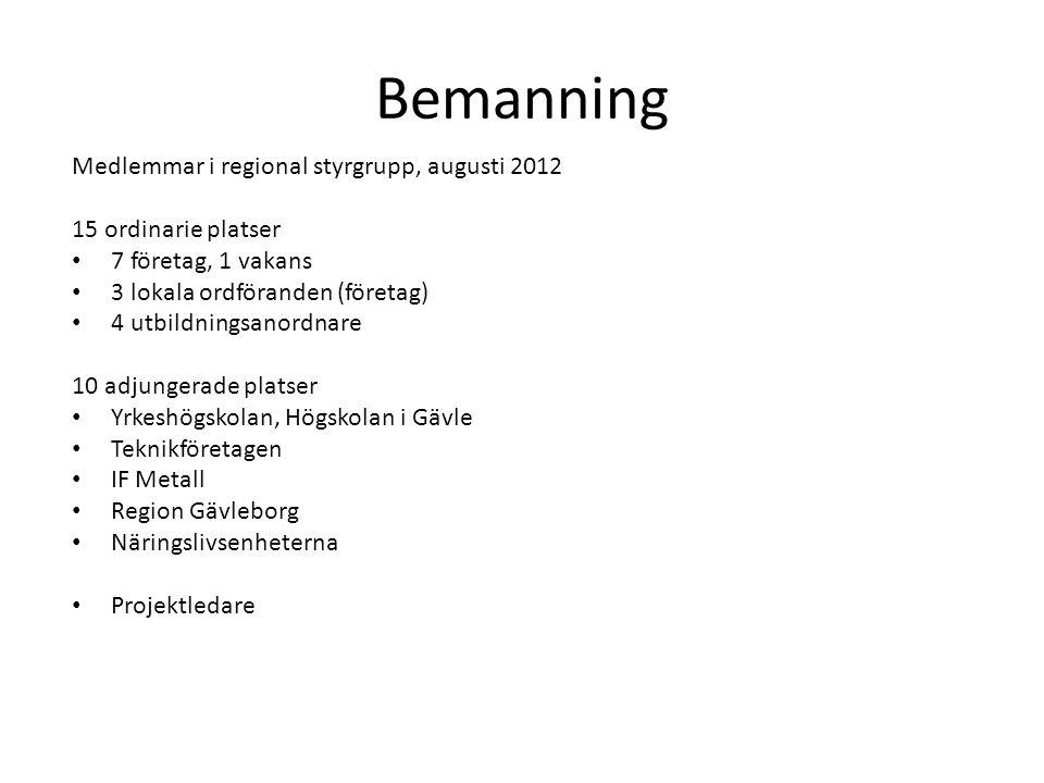 Bemanning Medlemmar i regional styrgrupp, augusti 2012