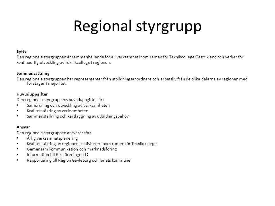 Regional styrgrupp Syfte
