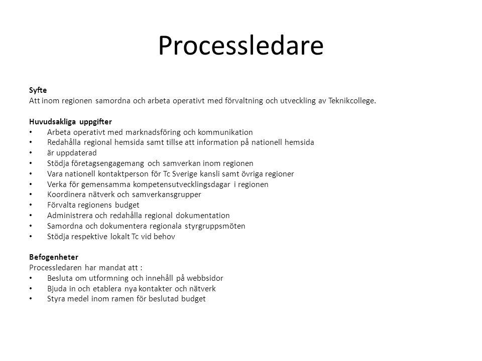 Processledare Syfte. Att inom regionen samordna och arbeta operativt med förvaltning och utveckling av Teknikcollege.