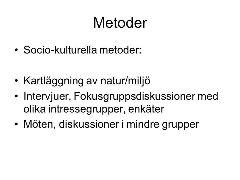 Metoder Socio-kulturella metoder: Kartläggning av natur/miljö
