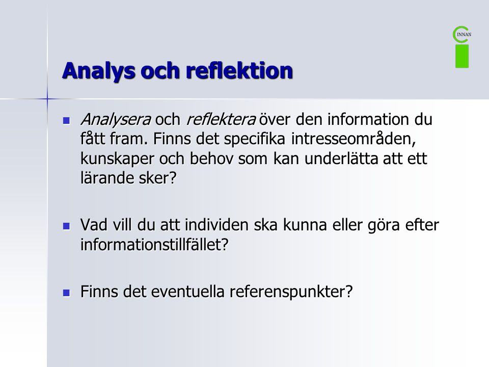 Analys och reflektion