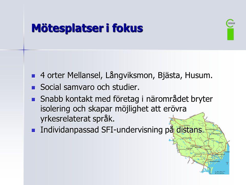 Mötesplatser i fokus 4 orter Mellansel, Långviksmon, Bjästa, Husum.