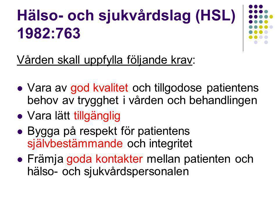Hälso- och sjukvårdslag (HSL) 1982:763