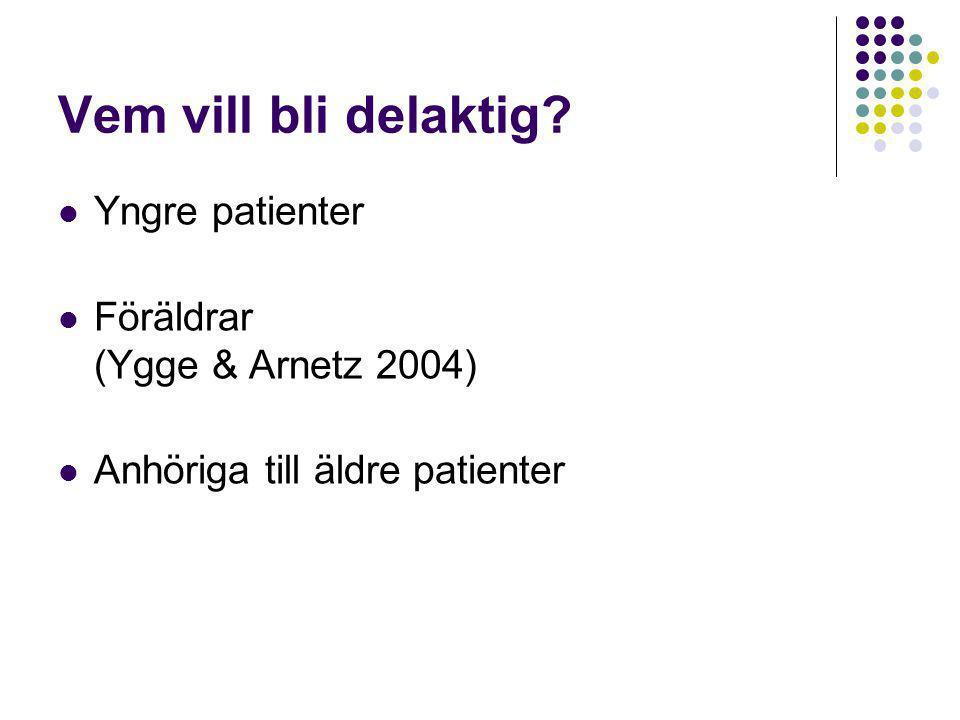 Vem vill bli delaktig Yngre patienter Föräldrar (Ygge & Arnetz 2004)