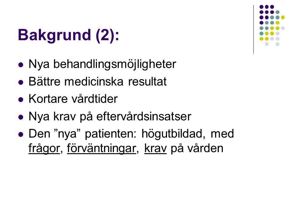 Bakgrund (2): Nya behandlingsmöjligheter Bättre medicinska resultat