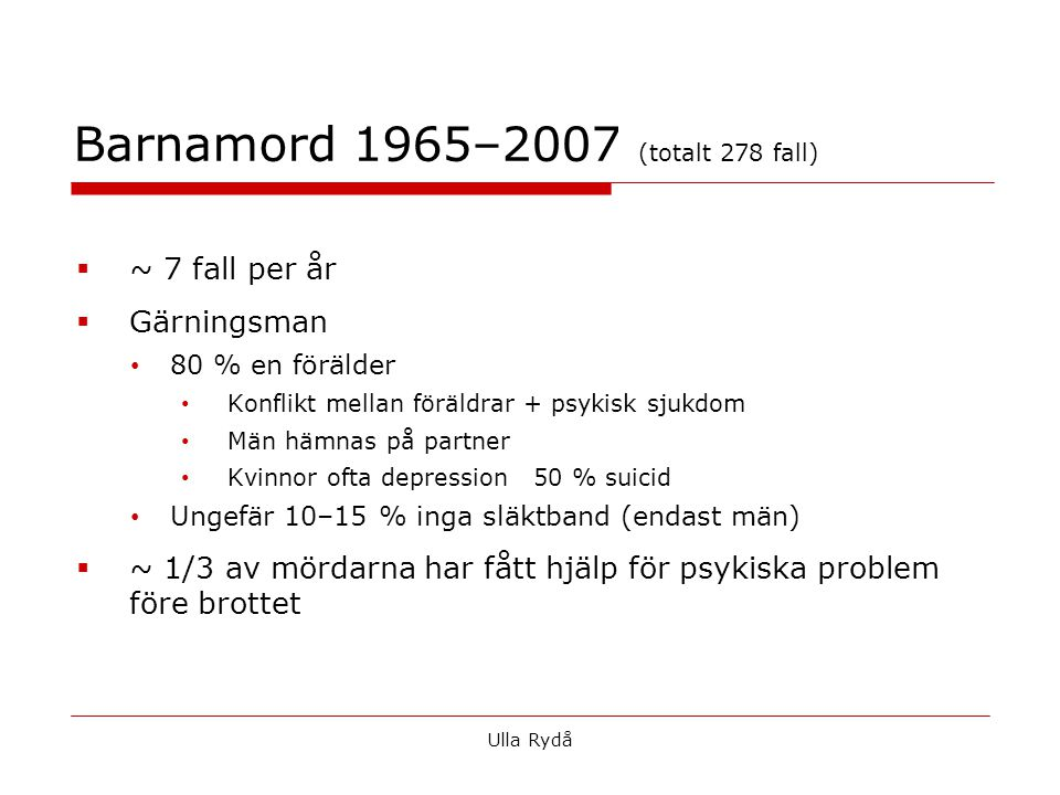 Barnamord 1965–2007 (totalt 278 fall)
