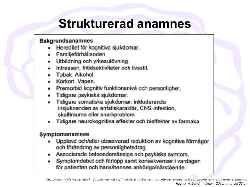 Strukturerad anamnes Neurokognitiv/Psykogeriatrisk Symptomenkät - Ett validerat instrument för heteroanamnes och symptomanalys vid demensutredning.