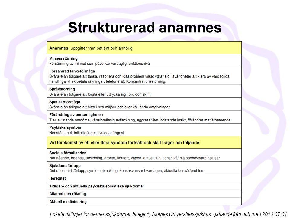 Strukturerad anamnes Lokala riktlinjer för demenssjukdomar, bilaga 1, Skånes Universitetssjukhus, gällande från och med 2010-07-01.