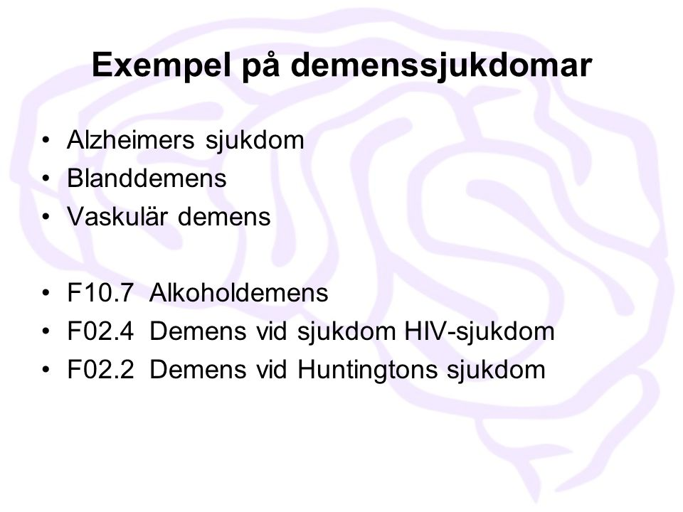 Exempel på demenssjukdomar