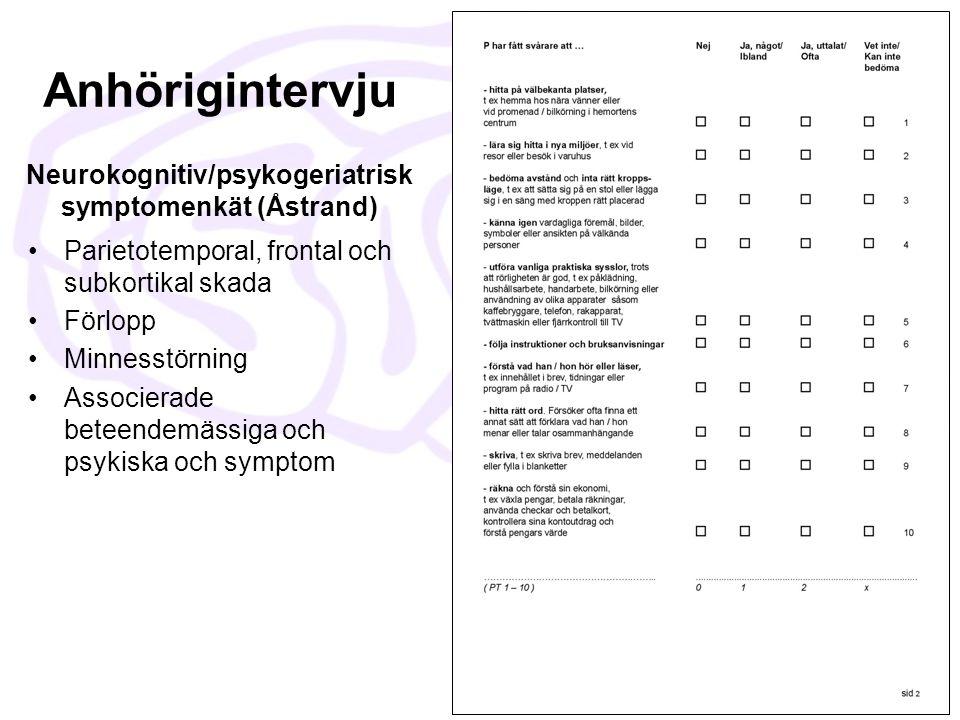 Anhörigintervju Neurokognitiv/psykogeriatrisk symptomenkät (Åstrand)