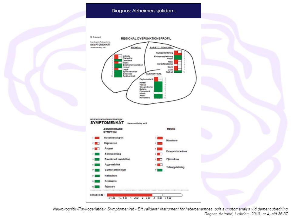 Neurokognitiv/Psykogeriatrisk Symptomenkät - Ett validerat instrument för heteroanamnes och symptomanalys vid demensutredning