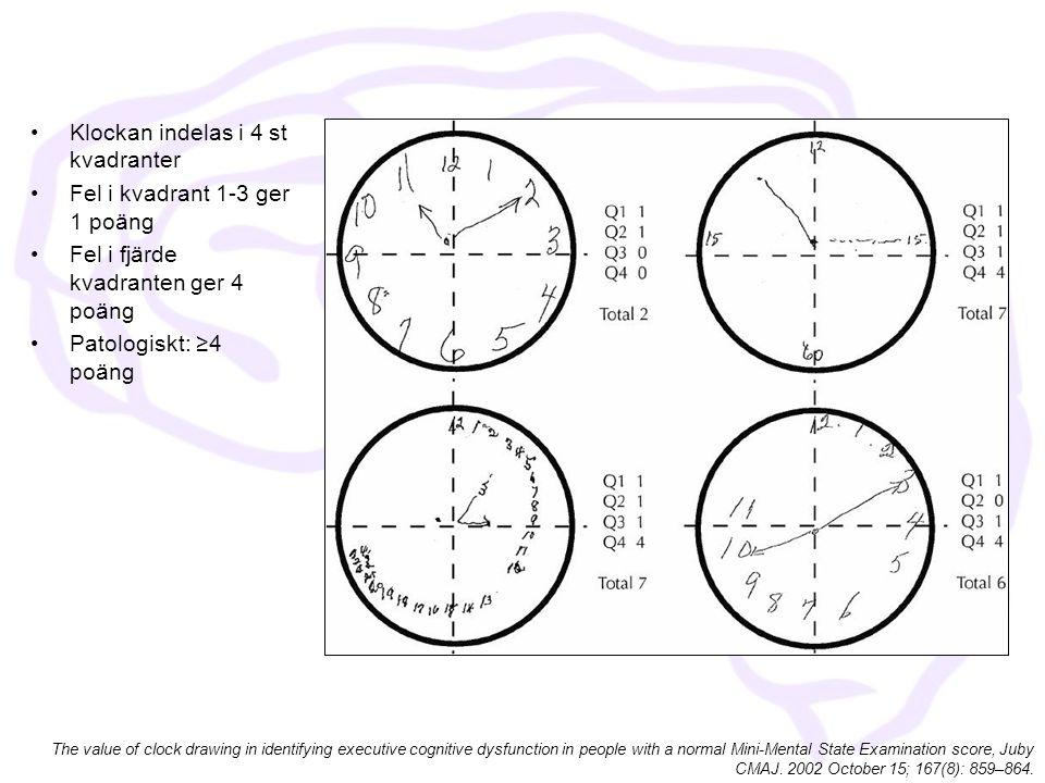 Klockan indelas i 4 st kvadranter Fel i kvadrant 1-3 ger 1 poäng
