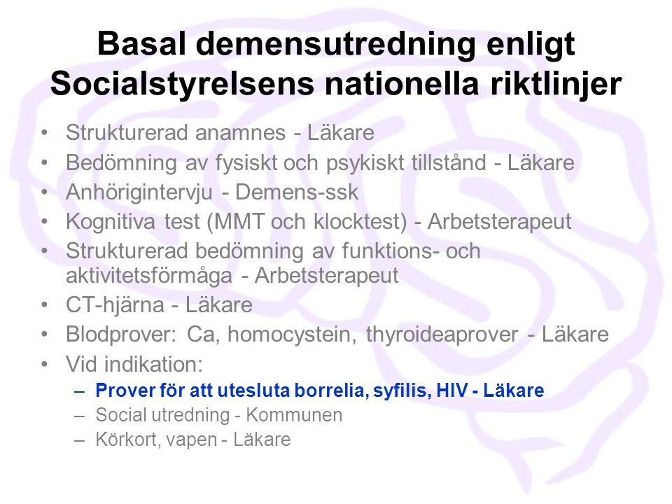 Basal demensutredning enligt Socialstyrelsens nationella riktlinjer