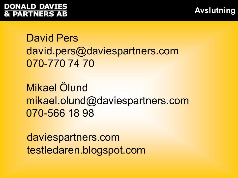 David Pers david.pers@daviespartners.com 070-770 74 70 Mikael Ölund