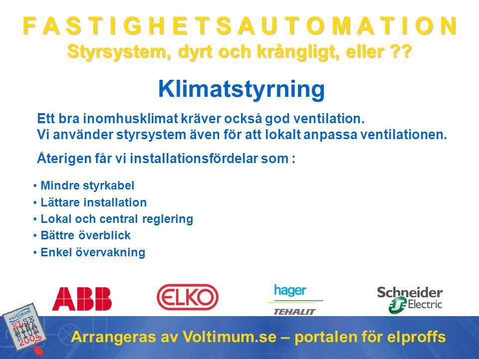 Klimatstyrning Arrangeras av Voltimum.se – portalen för elproffs