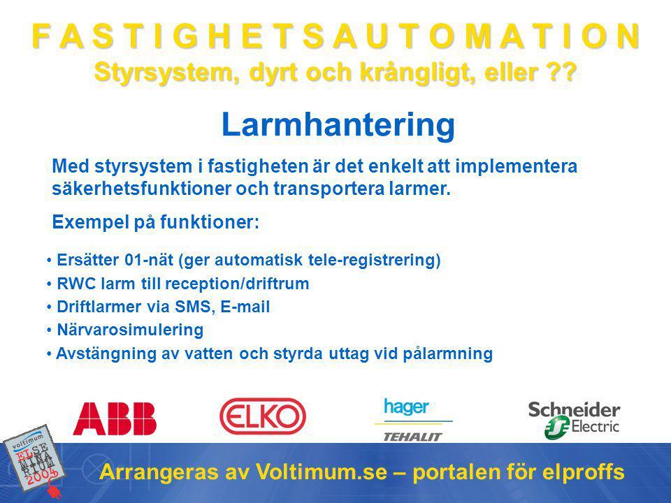 Larmhantering Arrangeras av Voltimum.se – portalen för elproffs
