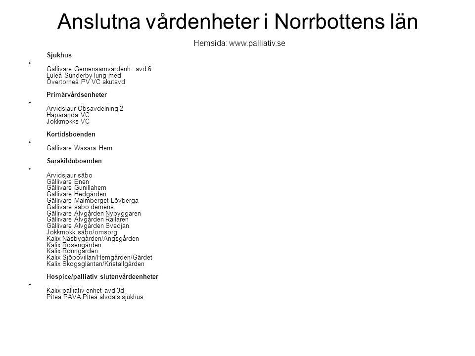 Anslutna vårdenheter i Norrbottens län
