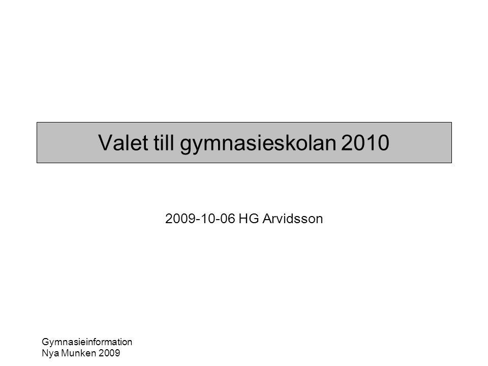 Valet till gymnasieskolan 2010