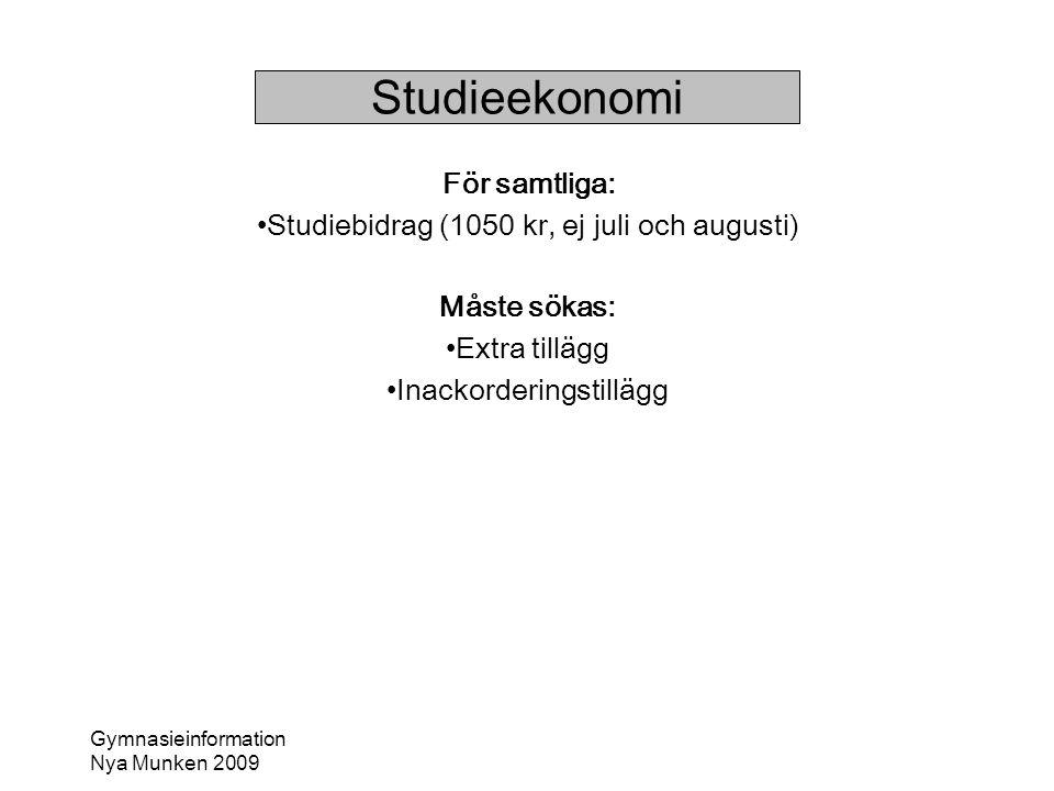 Studieekonomi För samtliga: