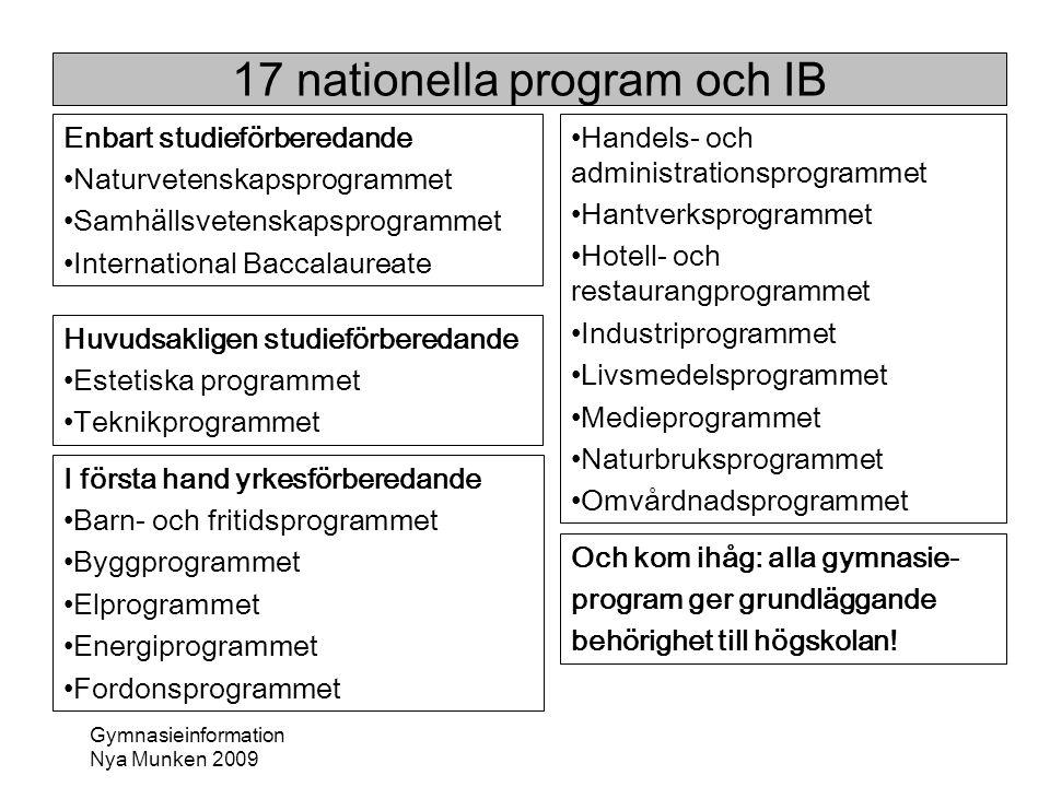17 nationella program och IB