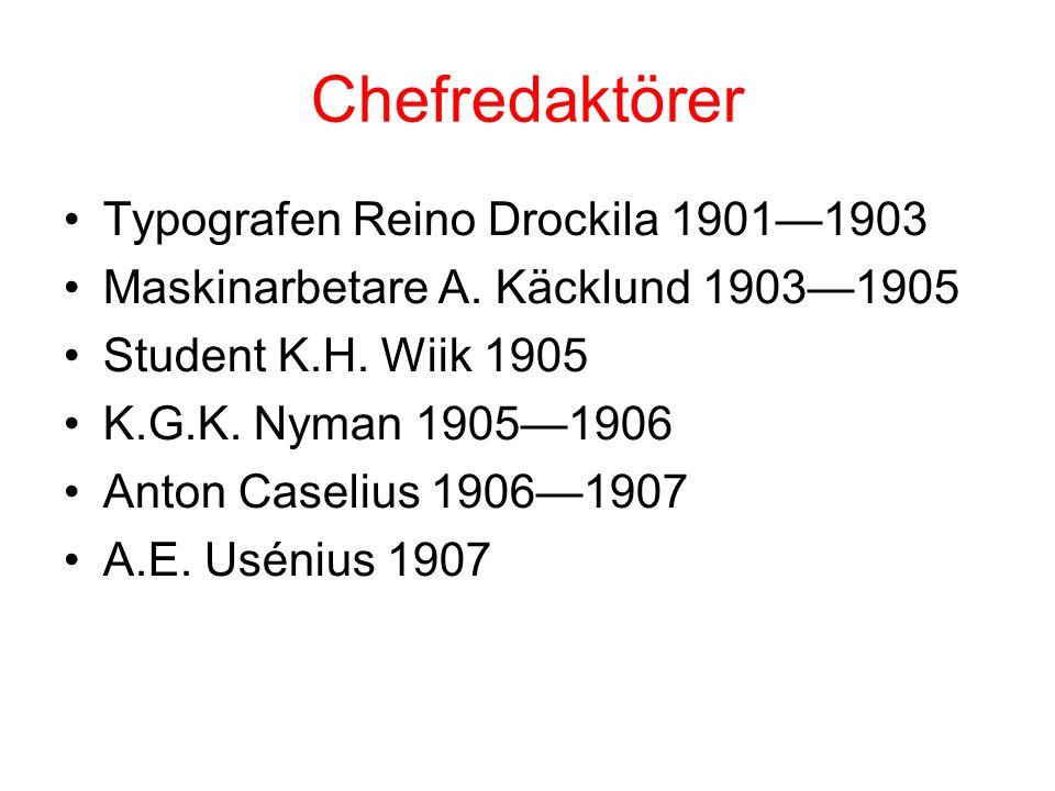 Chefredaktörer Typografen Reino Drockila 1901—1903