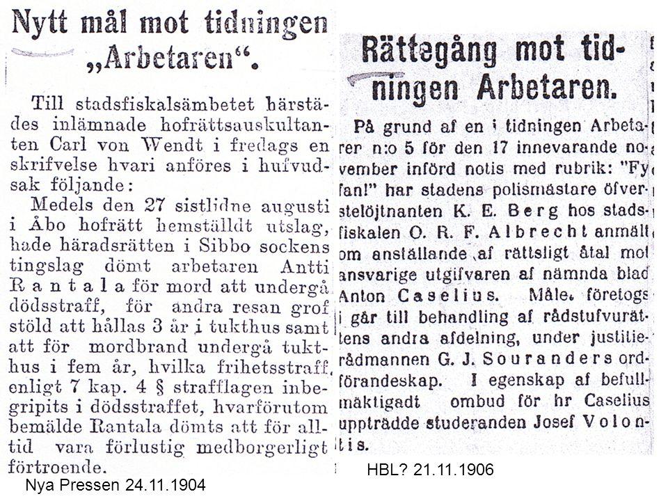 HBL 21.11.1906 Nya Pressen 24.11.1904