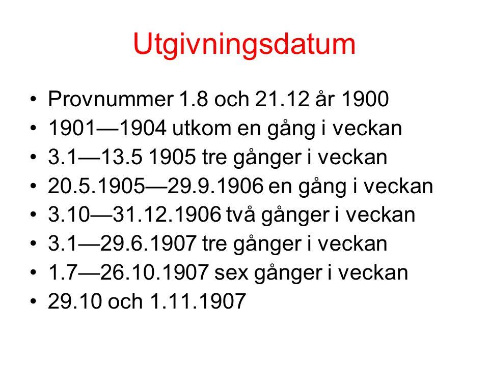 Utgivningsdatum Provnummer 1.8 och 21.12 år 1900