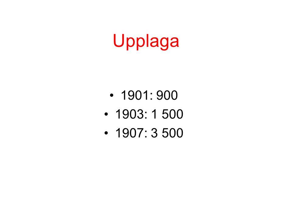 Upplaga 1901: 900 1903: 1 500 1907: 3 500