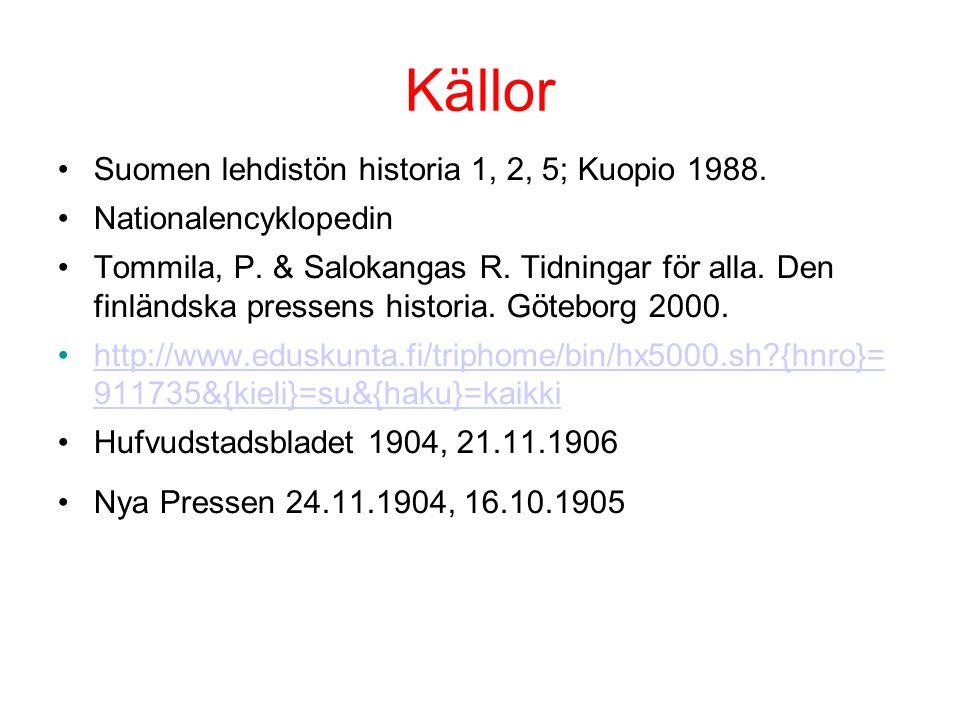 Källor Suomen lehdistön historia 1, 2, 5; Kuopio 1988.
