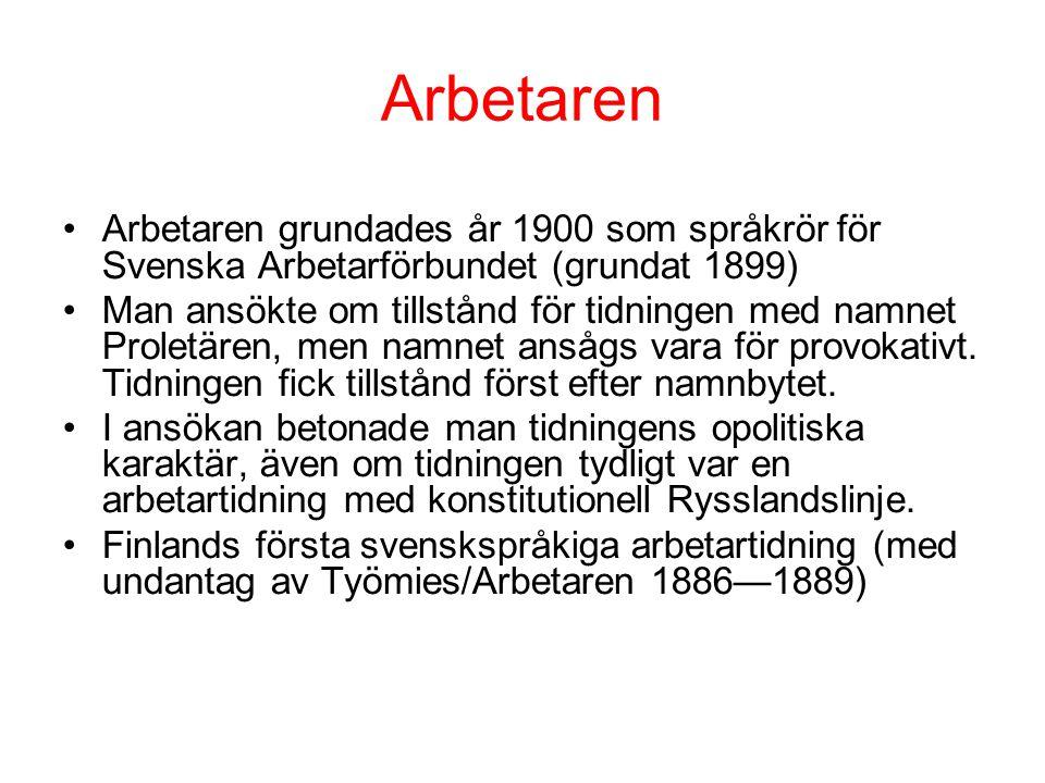 Arbetaren Arbetaren grundades år 1900 som språkrör för Svenska Arbetarförbundet (grundat 1899)