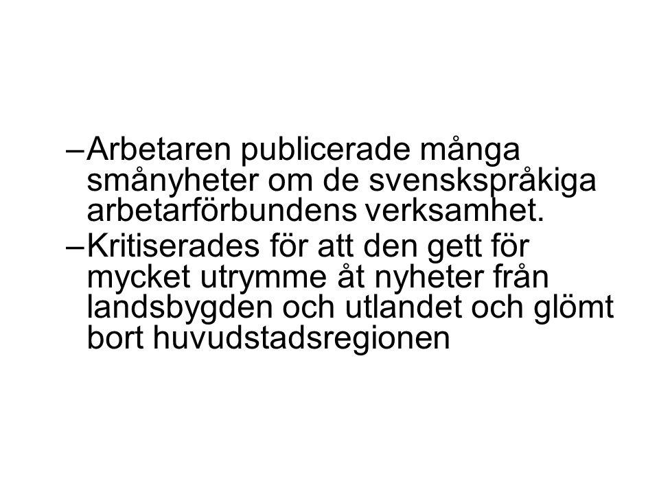 Arbetaren publicerade många smånyheter om de svenskspråkiga arbetarförbundens verksamhet.