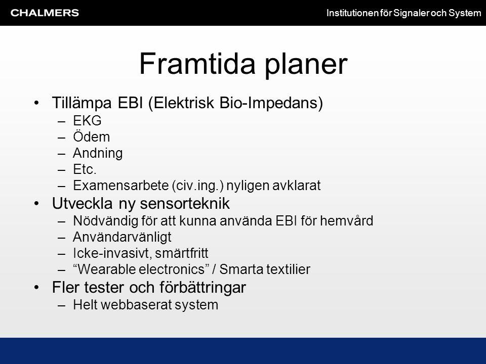 Framtida planer Tillämpa EBI (Elektrisk Bio-Impedans)