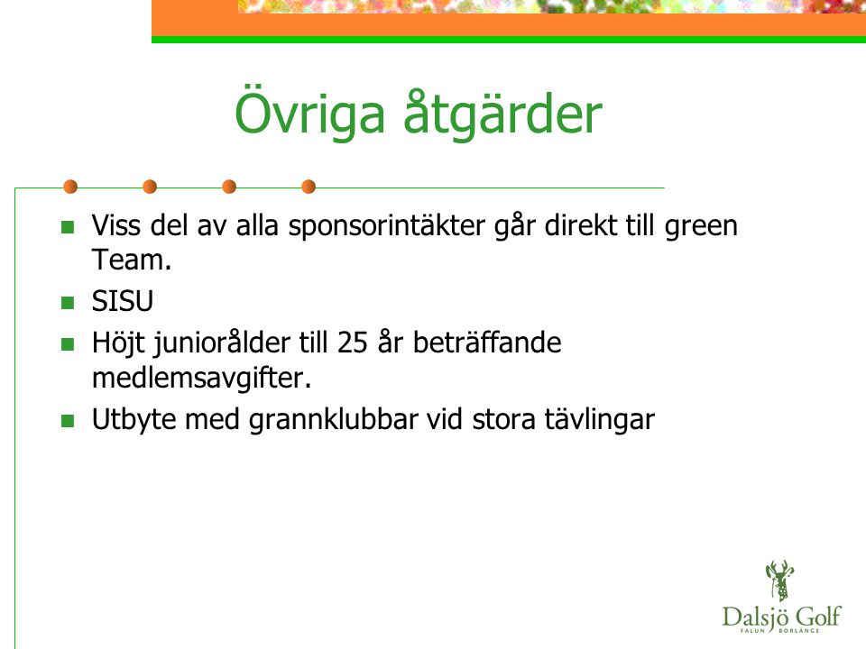 Övriga åtgärder Viss del av alla sponsorintäkter går direkt till green Team. SISU. Höjt juniorålder till 25 år beträffande medlemsavgifter.