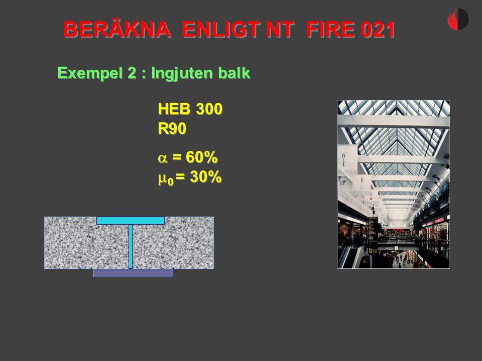 BERÄKNA ENLIGT NT FIRE 021 Exempel 2 : Ingjuten balk HEB 300 R90