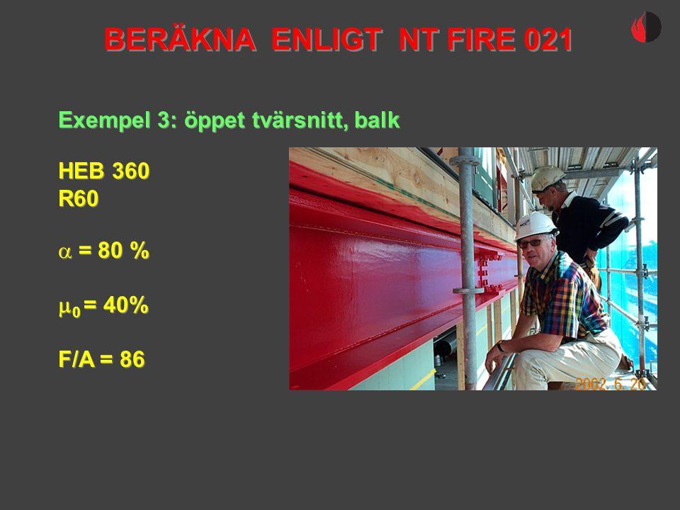 BERÄKNA ENLIGT NT FIRE 021 Exempel 3: öppet tvärsnitt, balk HEB 360
