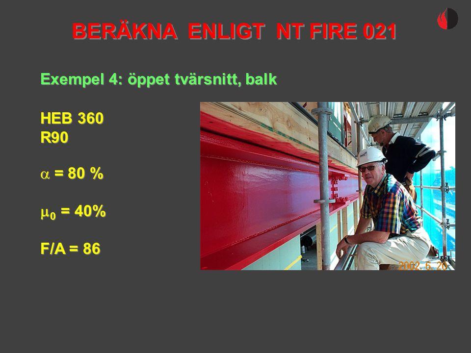 BERÄKNA ENLIGT NT FIRE 021 Exempel 4: öppet tvärsnitt, balk HEB 360