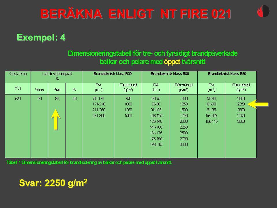 BERÄKNA ENLIGT NT FIRE 021 Exempel: 4 Svar: 2250 g/m2